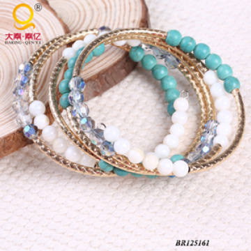 Hot Sale Large Coil Shell Crystal Turquoise Bracelet (BR125161)