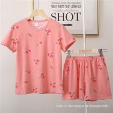 Autumn Womens Pajamas Women Set sets Casual Shorts Short Sleeve Print Cotton T-Shirt Sleepwear Nightwear Set