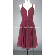Burgandy Short Chiffon Cocktail Dresses Prom Dress