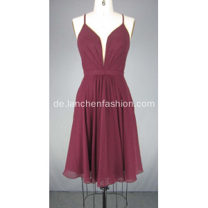Burgandy Short Chiffon Cocktailkleider Ballkleid