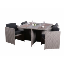 4 pc rattan sapce-saving cube table