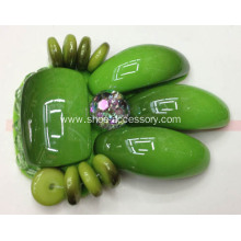 Handmade Footwear Trimming, Fashion Accessories of Shoe Clips with Green Bead Sewn