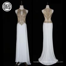 Vestido de novia de obra de piedra occidental de oro y elegante a la altura del piso