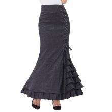 Belle Poque Women Vintage Retro Victorian Style Ruffled Jacquard Fishtail Mermaid Black Long Maxi Skirt BP000204-1