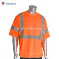 100% Polyester Birdseye Mesh Hi-vis Jaune Tee-shirt Durable Travail de Sécurité Chemises Pour Hommes Avec 3 M Bandes Réfléchissantes EN20471