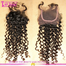 Grade 7A High Quality Tief lockiges reines Haar frei Abschied billige Spitze Schließung