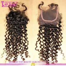 Grade 7A haute qualité Deep Curly Virgin cheveux gratuit Parting Cheap Lace Closure