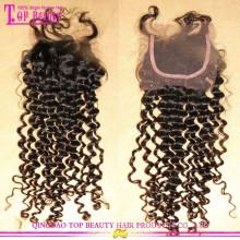 Класс 7А высокое качество глубокий вьющиеся волосы девственницы Бесплатная пробор кружево закрытие