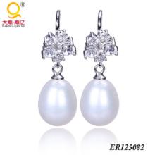 Plata de ley 925 perlas pendientes (BR125082)