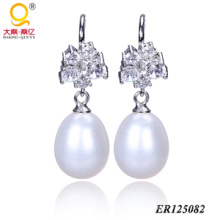 925 Sterling Silver Pearl Earrings (BR125082)