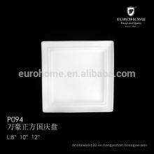 12 pulgadas de hueso China al por mayor cuadrados cuadrados catering platillos de cena