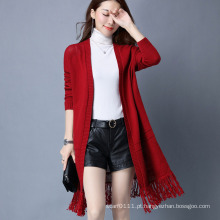 Senhora moda viscose poliéster tricotado inverno franja casaco de lã (yky2056)
