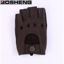 Guantes de cuero de las mujeres, medio guantes calientes sin dedos