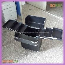 High-end preto alumínio profissional maquiagem caso em rodas (satccm024)