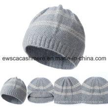 Chapeau pur de cachemire de catégorie supérieure des femmes avec des rayures A16wa4-001