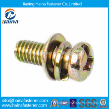 Stock Cross Recessed Small Pan Head Screws with Spring and Plain Washer