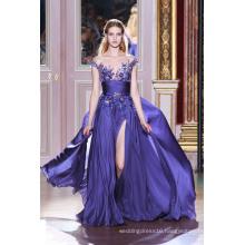 Purple Open Leg Chiffon Evening Dress