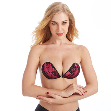 Soutien-gorge en dentelle push-up invisible en silicone collant