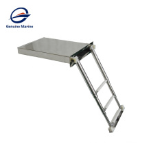 Escalera de baño de barco de yate marino plegable de caja antideslizante de acero inoxidable de 2 escalones y 3 escalones