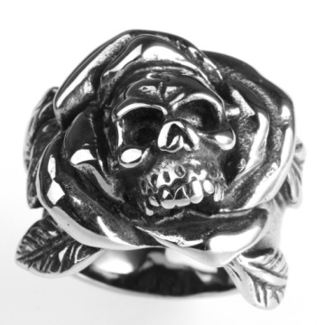 Punk charm high polishing rose skull ring