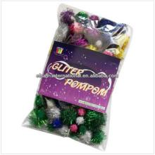 pompones de la decoración de la boda, pompones del brillo del arte, borla decorativa del pompón