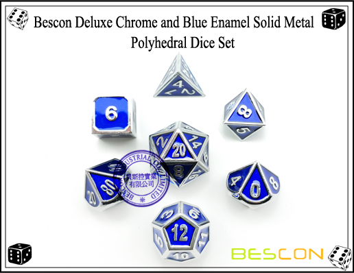 Bescon Deluxe Chrome and Blue Enamel Solid Metal Polyhedral Role Playing RPG Game Dice Set (7 Die in Pack)-4