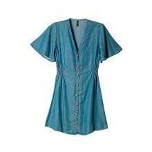 Women's Casual V Neck Short Sleeve Button Down Denim Short Dress