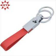 Chaîne principale faite sur commande de bande de cuir rouge avec deux anneaux de clé