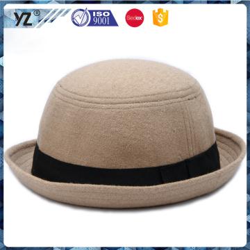 Costume boa qualidade homburg lã feltl chapéu com fita