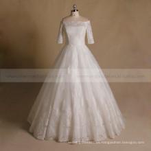 Princesa Off hombro Applique Lace & Beads 1/2 vestido de fiesta de la boda de la manga