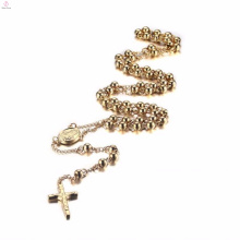 Gold rosary cross stainless steel pendant necklace with chain