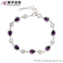 72793 moda de lujo en forma de corazón de rodio CZ diamante pulsera de la joyería de imitación para las mujeres