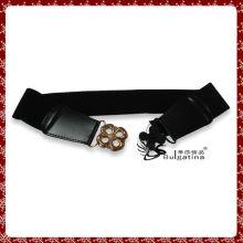 Design de ceinture en cuir noir, ceinture diamante élastique