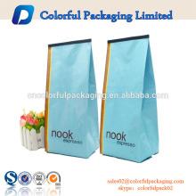 Sachets d'emballage de café de cravate d'étain rôti et moulu de 250g / 8oz / sachet de café doublé d'aluminium avec le gousset latéral