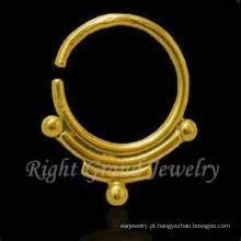 Banhado a ouro 16G nariz indiano jóia Piercing