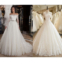 off The Shoulder 3/4 Sleeve Lace Wedding Gown