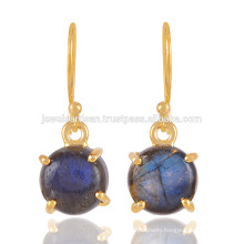 Prom set Flashy Labradorite Gemstone with 18K Gold Plated Silvre Earrings for Women