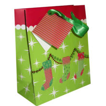 Christmas Gift Paper Bag with Cotton Ribbon Handle