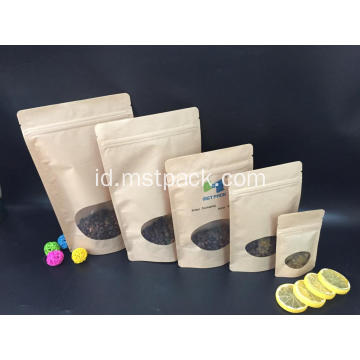 Kertas Kraft Reclosable Stand Up Pouch dengan Zipper