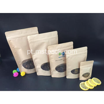 Papel Kraft Recoldable Stand Up Pouch com Zipper