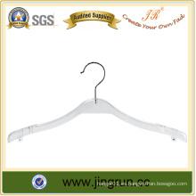 Bestselling No-slip Hanger Percha de plástico blanco con barra de bloqueo