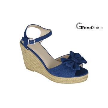 Frauen Espadrille Platform Wedge Sandalen mit Schleife