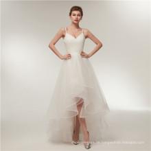 Alibaba V Neck Backless kurze vordere lange zurück Brautkleider Brautkleid