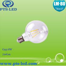 G95 6W LED Filament Bulb Light with High Lumen