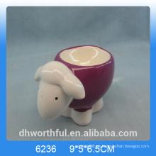 Encantador titular de cerámica huevo con diseño de ovejas