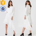 Laço branco de manga longa Assimétrica Hem Maxi Vestido de Verão Fabricação Atacado Moda Feminina Vestuário (TA0290D)