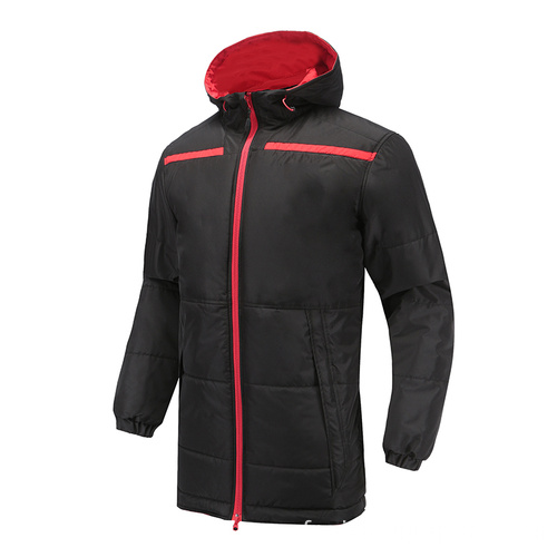 Hommes Soccer Wear Zip Up Hoodies Noir Rouge