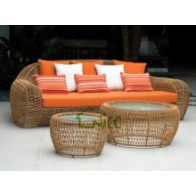 SL-(58) outdoor patio furniture PE rattan sofa cum bed/ double sleeper sofa