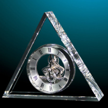 Silver Hands Triangle Table Clock em Crystal From Factory