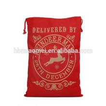 Fun Xmas Red Color Drawstring Stocking Candy Bags Christmas Gift Bag